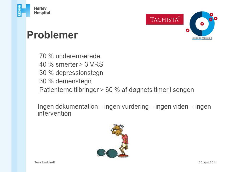 Problemer 70 % underernærede 40 % smerter > 3 VRS