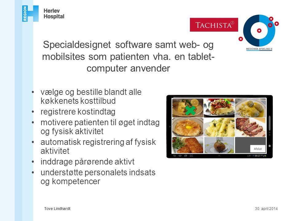 Specialdesignet software samt web- og mobilsites som patienten vha
