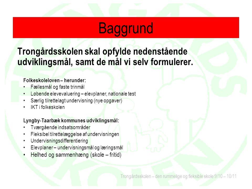 Baggrund Trongårdsskolen skal opfylde nedenstående udviklingsmål, samt de mål vi selv formulerer. Folkeskoleloven – herunder: