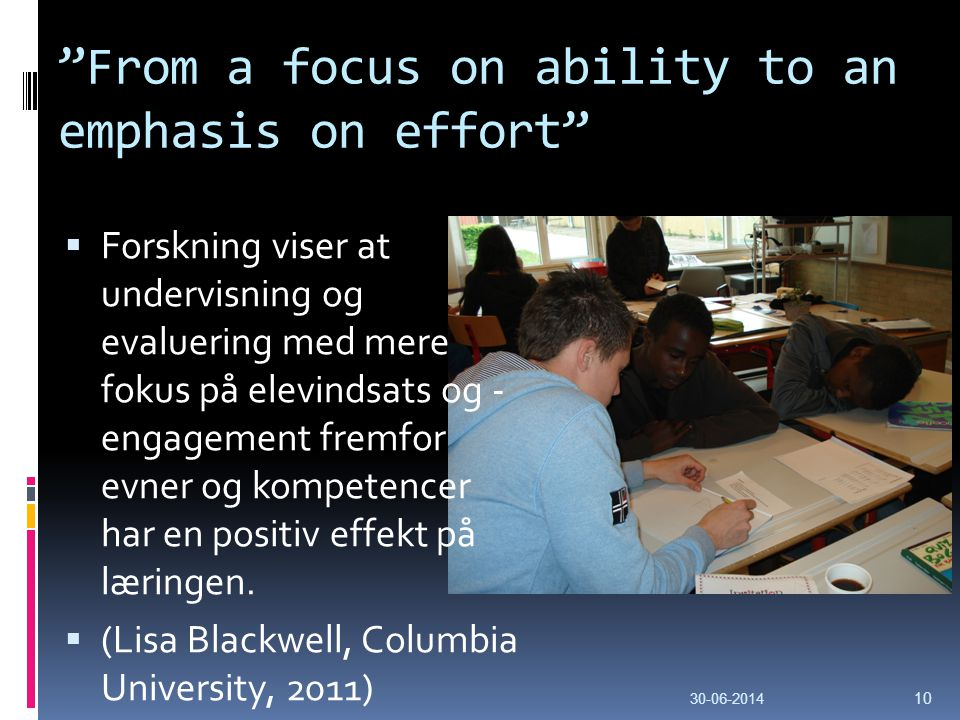 From a focus on ability to an emphasis on effort