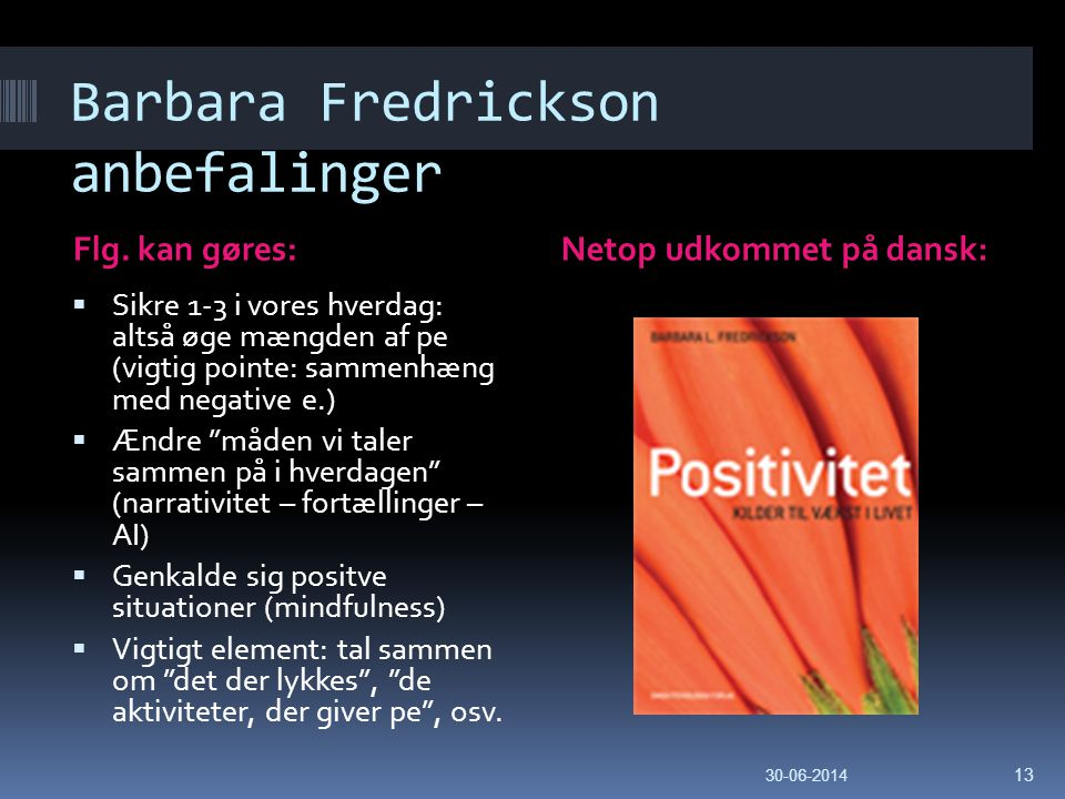 Barbara Fredrickson anbefalinger