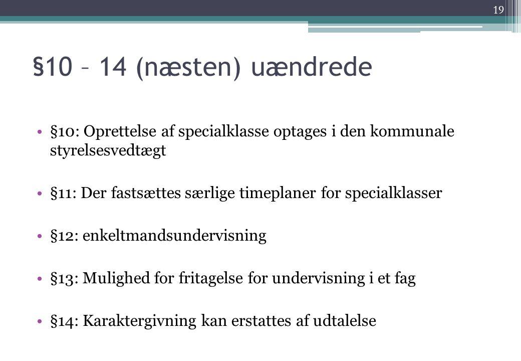 §10 – 14 (næsten) uændrede §10: Oprettelse af specialklasse optages i den kommunale styrelsesvedtægt.