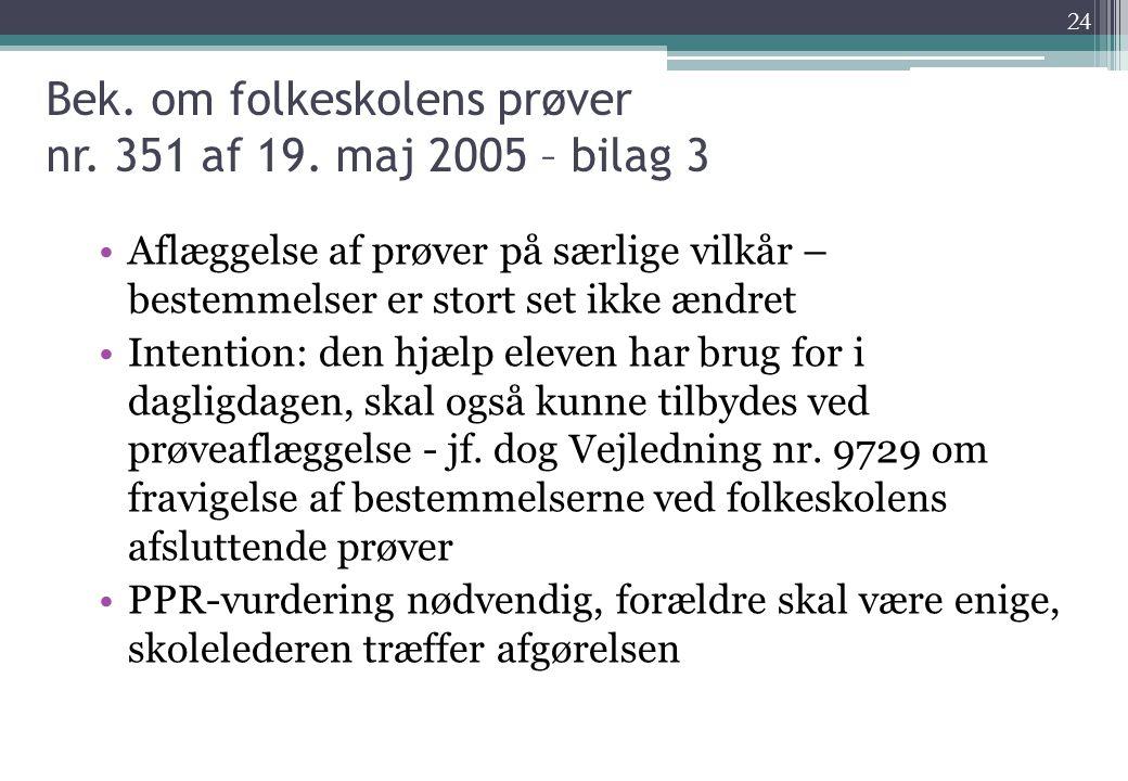 Bek. om folkeskolens prøver nr. 351 af 19. maj 2005 – bilag 3