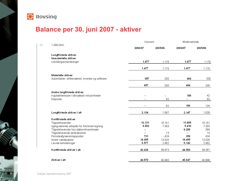Balance per 30. juni 2007 - aktiver