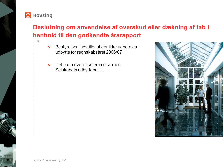 Beslutning om anvendelse af overskud eller dækning af tab i henhold til den godkendte årsrapport
