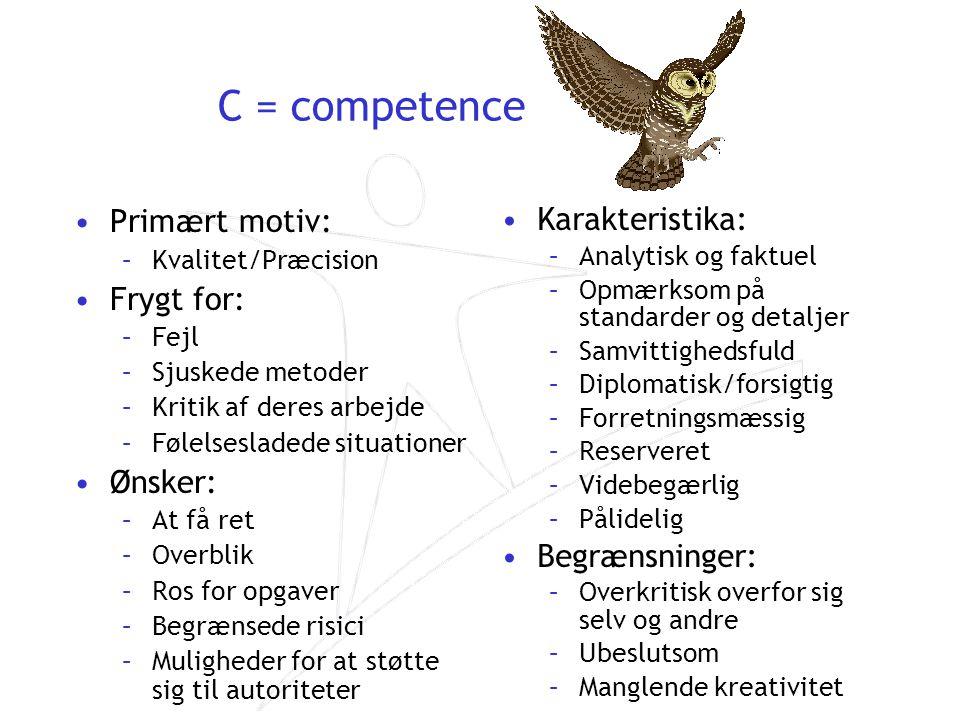 C = competence Primært motiv: Frygt for: Ønsker: Karakteristika: