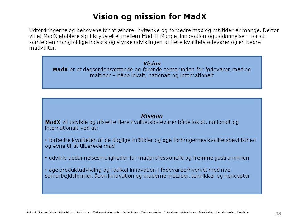 Vision og mission for MadX