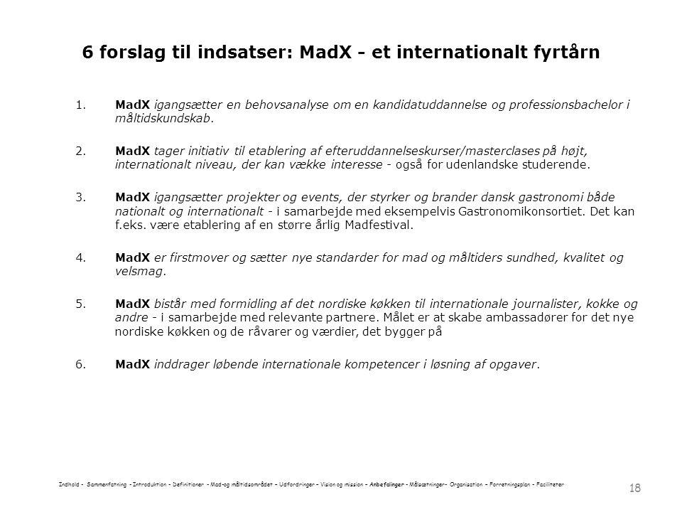 6 forslag til indsatser: MadX - et internationalt fyrtårn