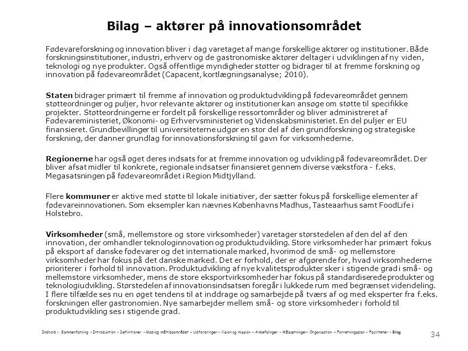 Bilag – aktører på innovationsområdet