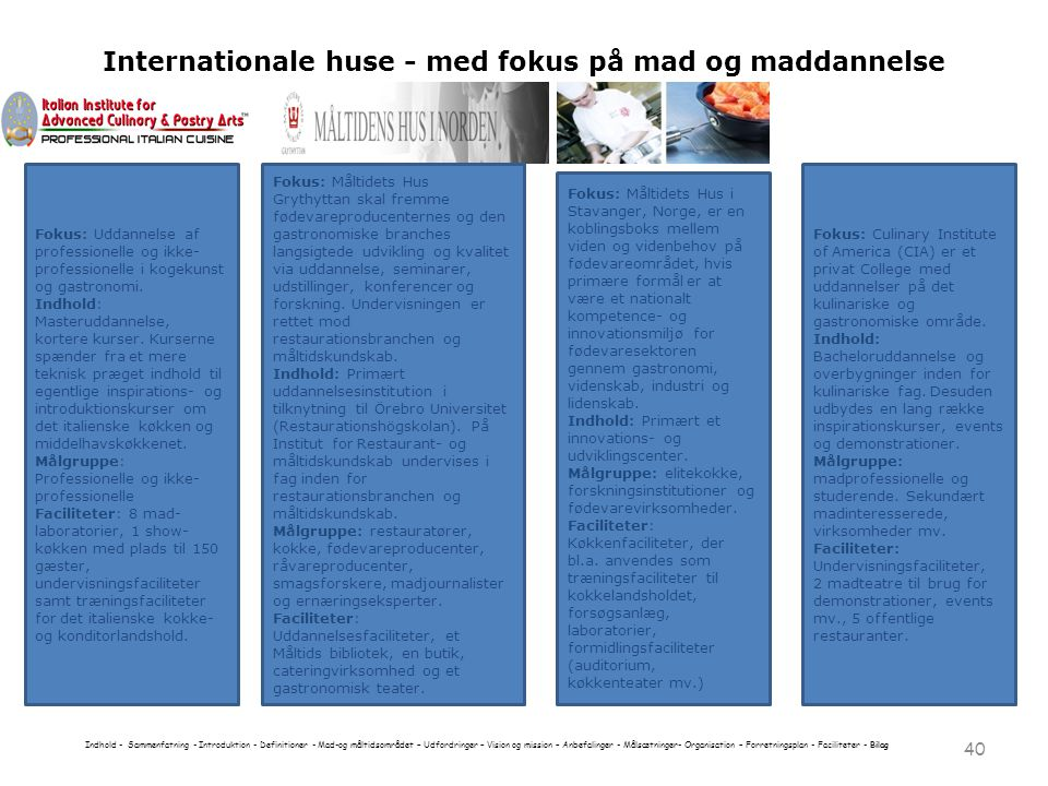 Internationale huse - med fokus på mad og maddannelse