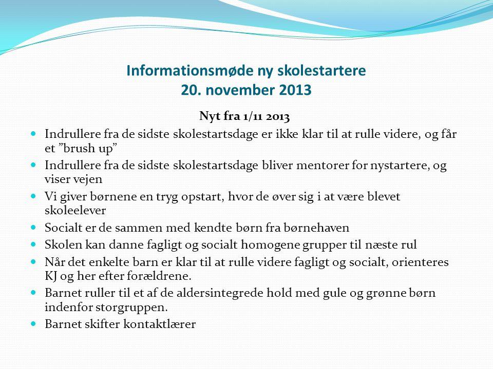 Informationsmøde ny skolestartere 20. november 2013