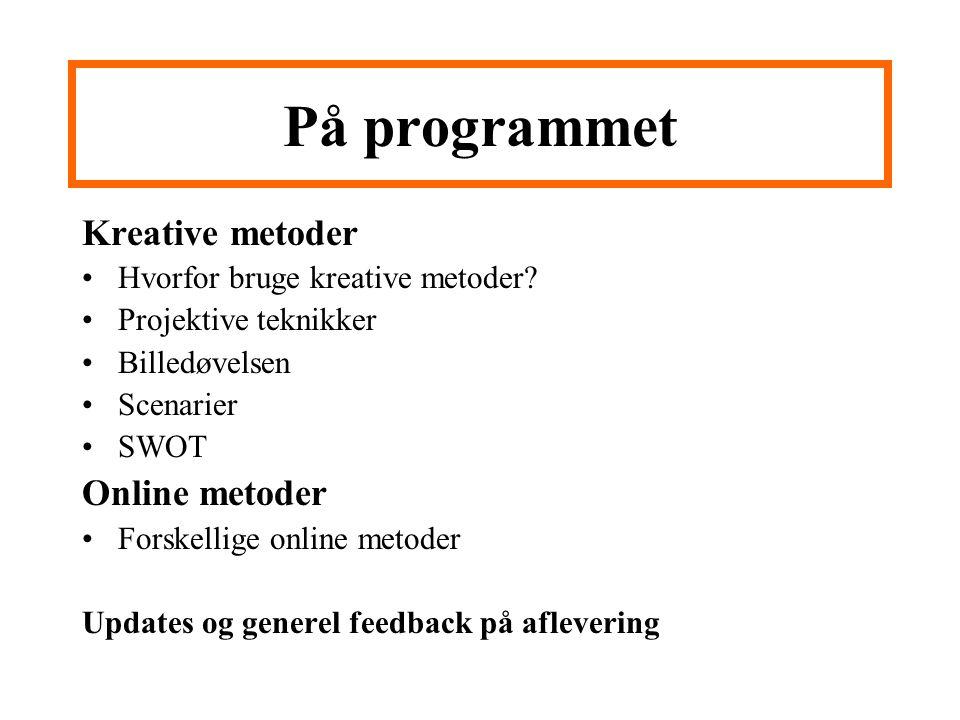 På programmet Kreative metoder Online metoder