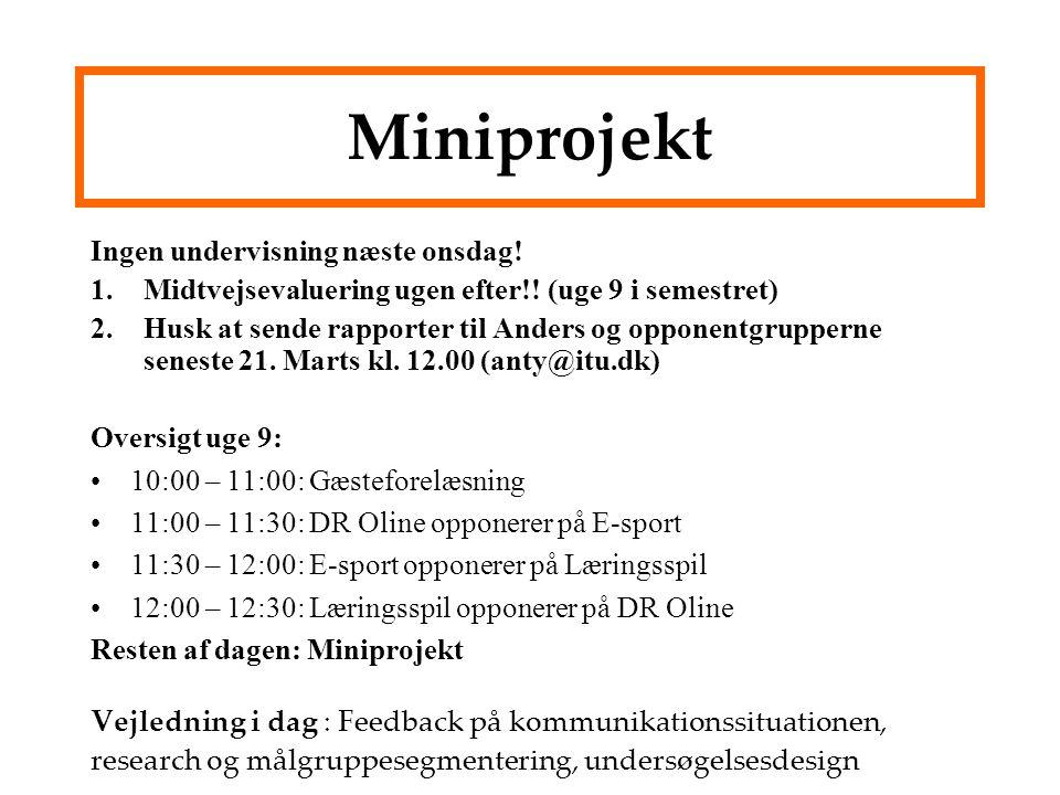Miniprojekt Ingen undervisning næste onsdag!