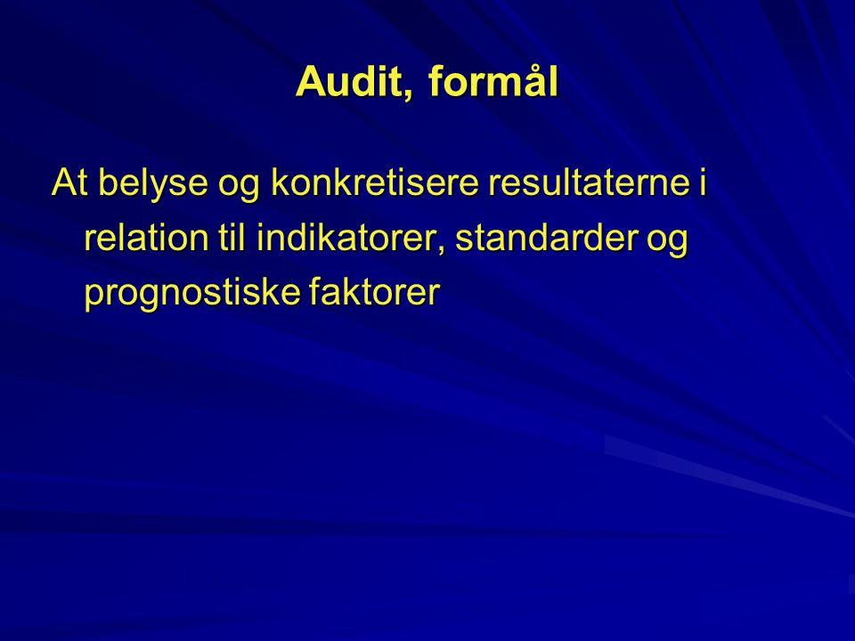 Audit, formål At belyse og konkretisere resultaterne i relation til indikatorer, standarder og prognostiske faktorer.