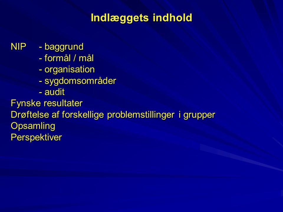 Indlæggets indhold NIP - baggrund - formål / mål - organisation