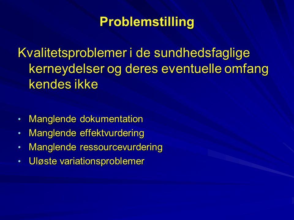 Problemstilling Kvalitetsproblemer i de sundhedsfaglige kerneydelser og deres eventuelle omfang kendes ikke.