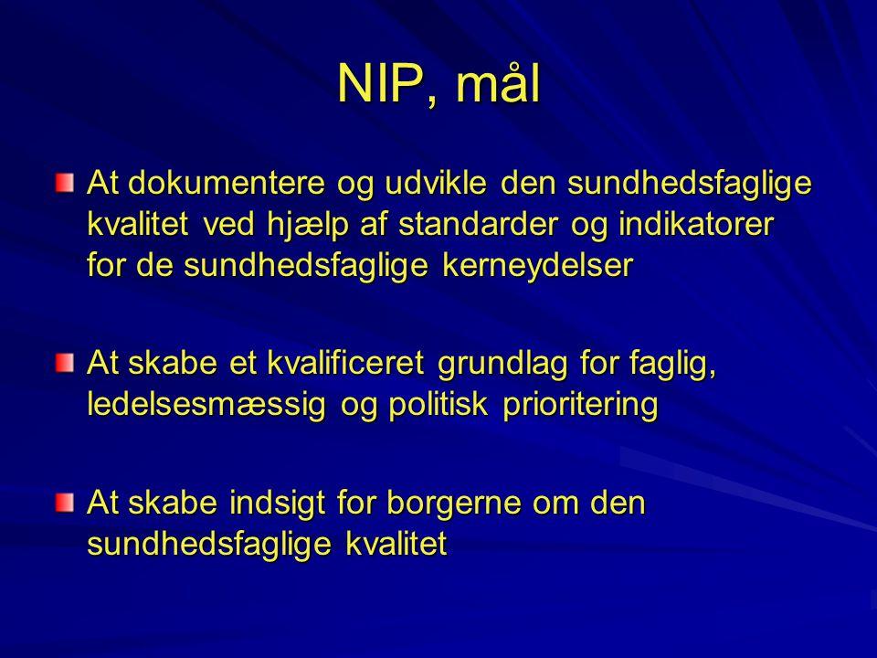 NIP, mål At dokumentere og udvikle den sundhedsfaglige kvalitet ved hjælp af standarder og indikatorer for de sundhedsfaglige kerneydelser.