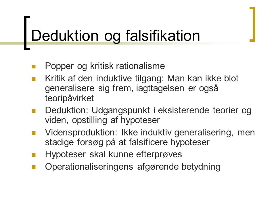 Deduktion og falsifikation