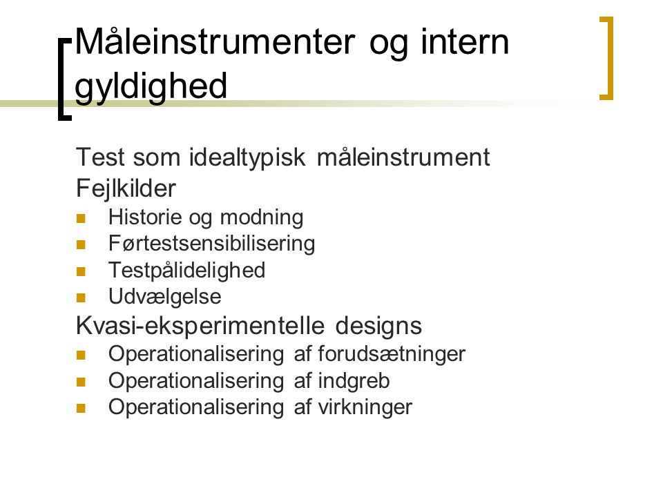 Måleinstrumenter og intern gyldighed