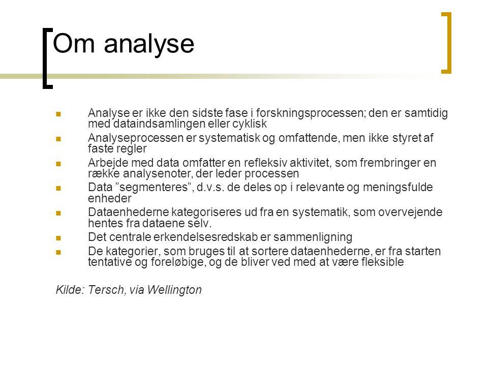 Om analyse Analyse er ikke den sidste fase i forskningsprocessen; den er samtidig med dataindsamlingen eller cyklisk.