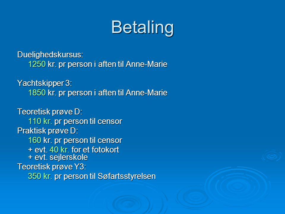 Betaling Duelighedskursus: 1250 kr. pr person i aften til Anne-Marie