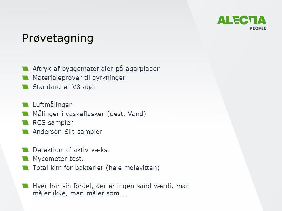 Prøvetagning Aftryk af byggematerialer på agarplader