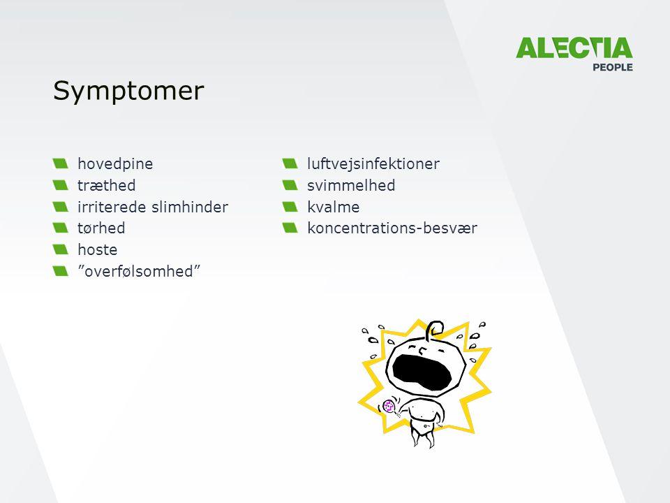 Symptomer hovedpine træthed irriterede slimhinder tørhed hoste