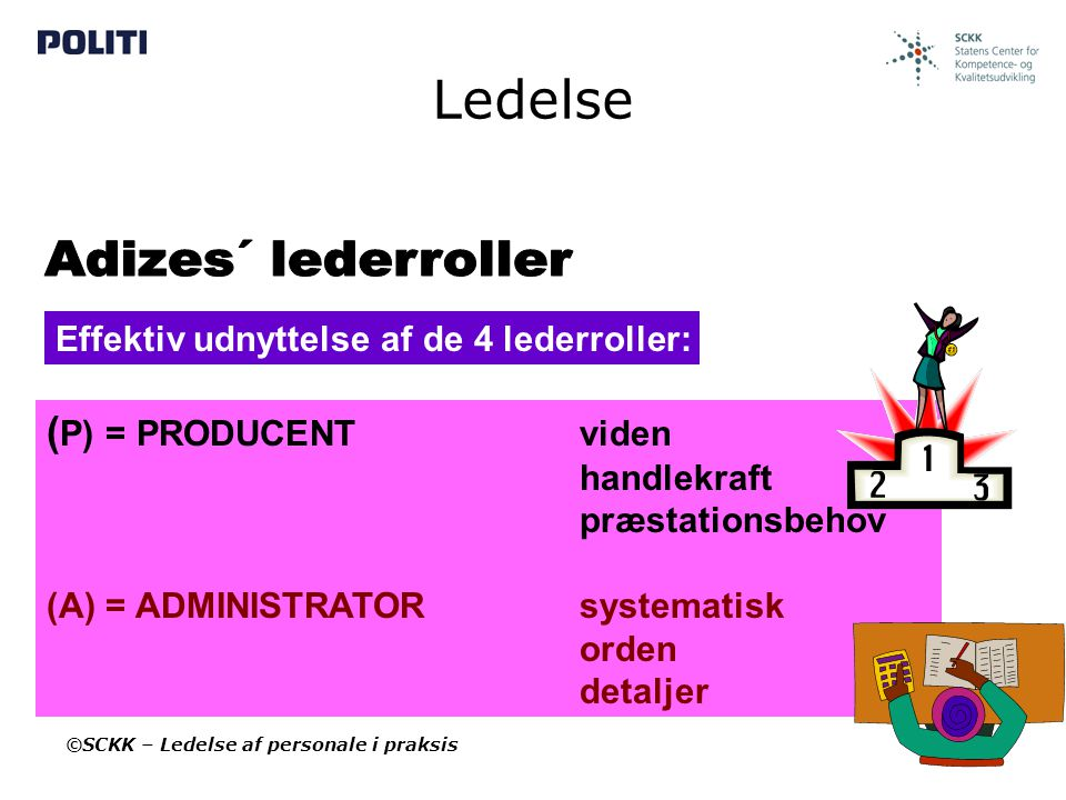 Ledelse Adizes´ lederroller (P) = PRODUCENT viden