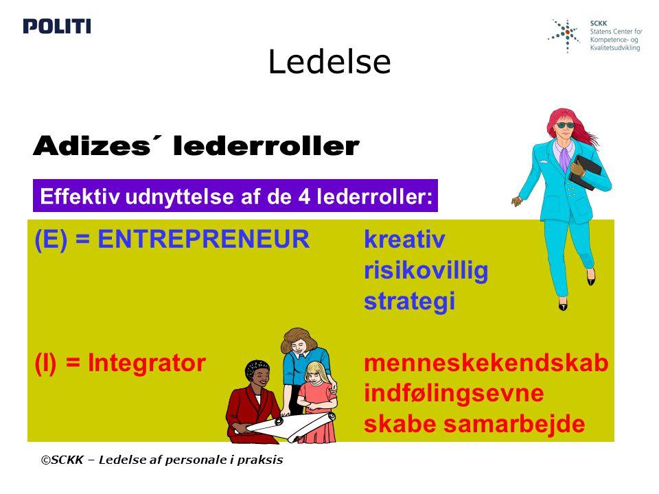 Ledelse Adizes´ lederroller (E) = ENTREPRENEUR kreativ risikovillig