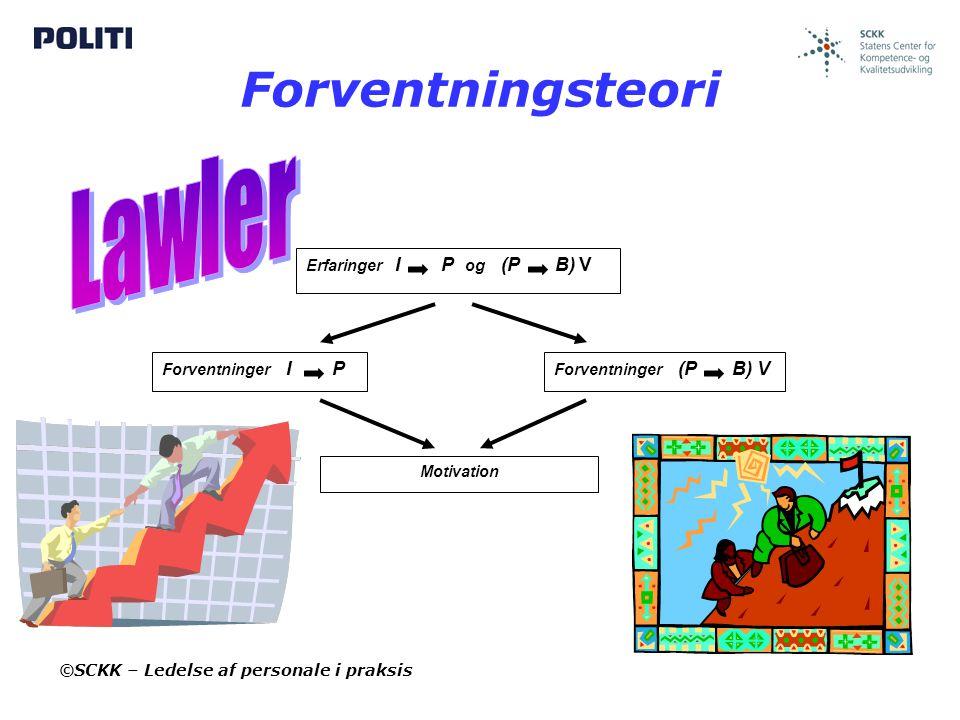 Forventningsteori Lawler Erfaringer I P og (P B) V Forventninger I P