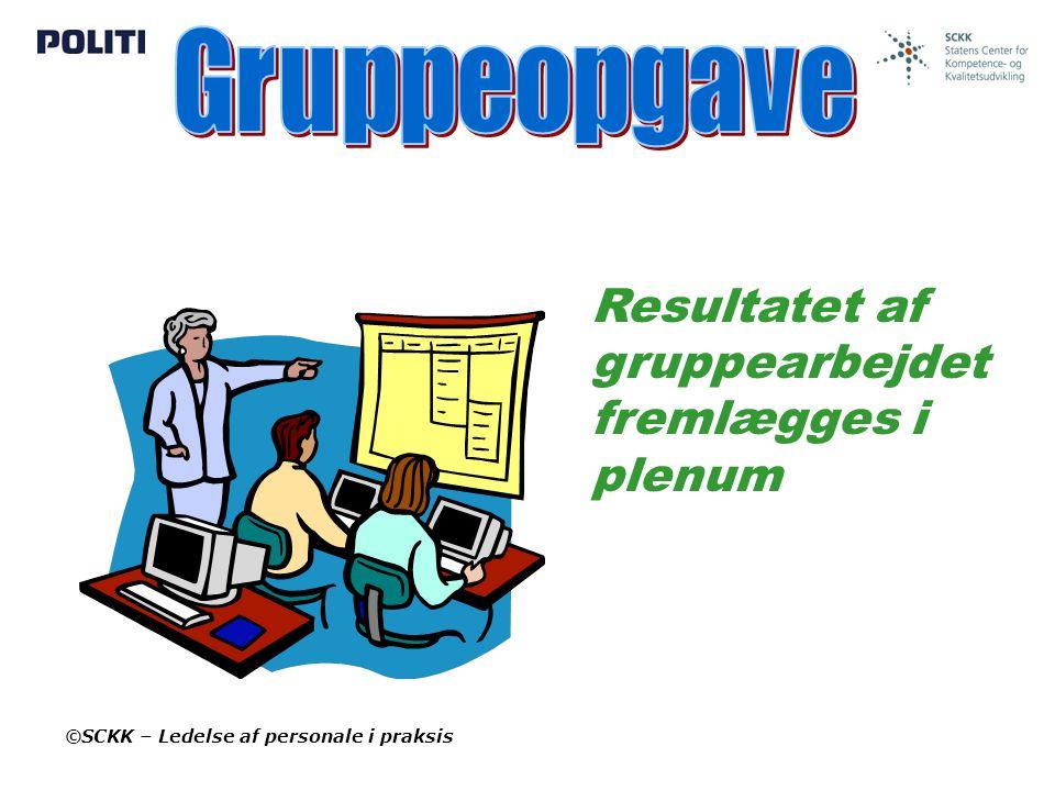 Gruppeopgave Resultatet af gruppearbejdet fremlægges i plenum