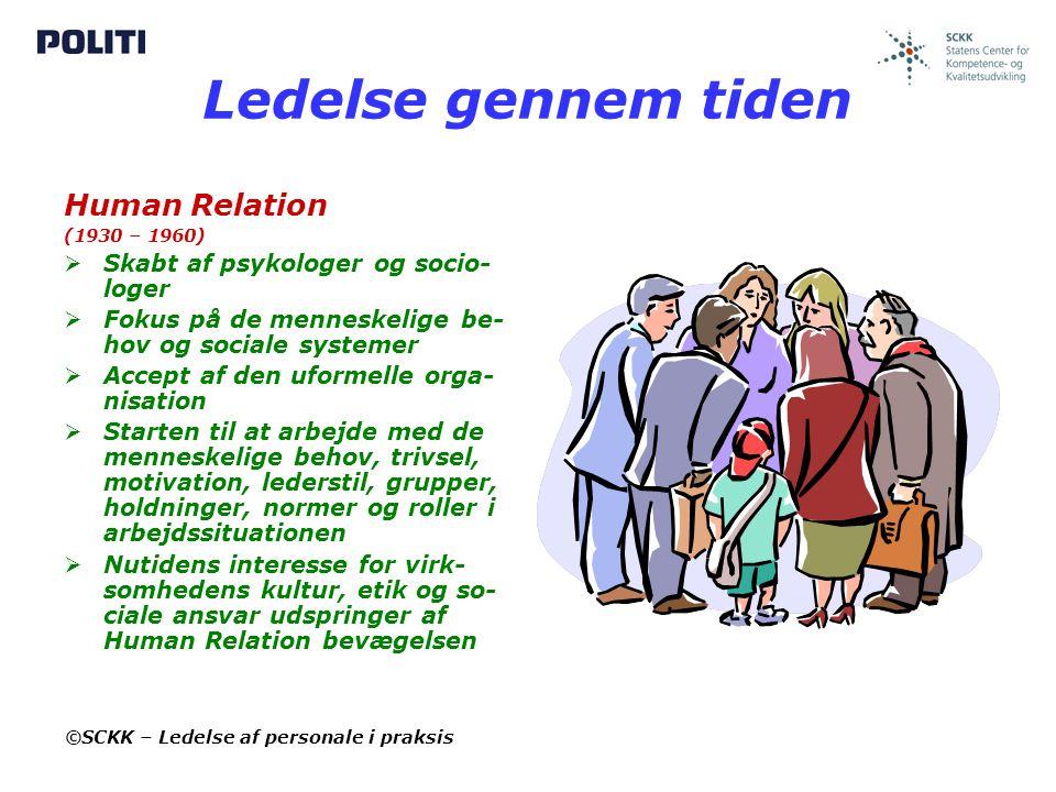 Ledelse gennem tiden Human Relation Skabt af psykologer og socio-loger
