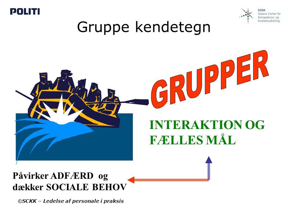 Gruppe kendetegn GRUPPER INTERAKTION OG FÆLLES MÅL Påvirker ADFÆRD og