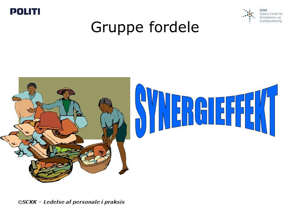 Gruppe fordele SYNERGIEFFEKT ©SCKK – Ledelse af personale i praksis