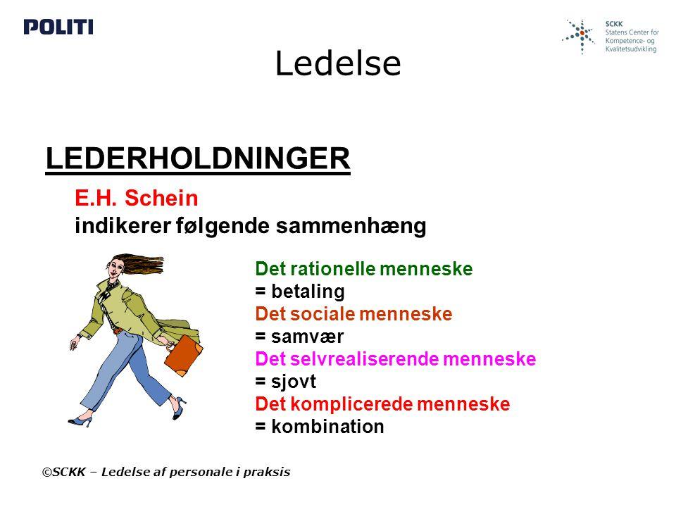 Ledelse LEDERHOLDNINGER E.H. Schein indikerer følgende sammenhæng