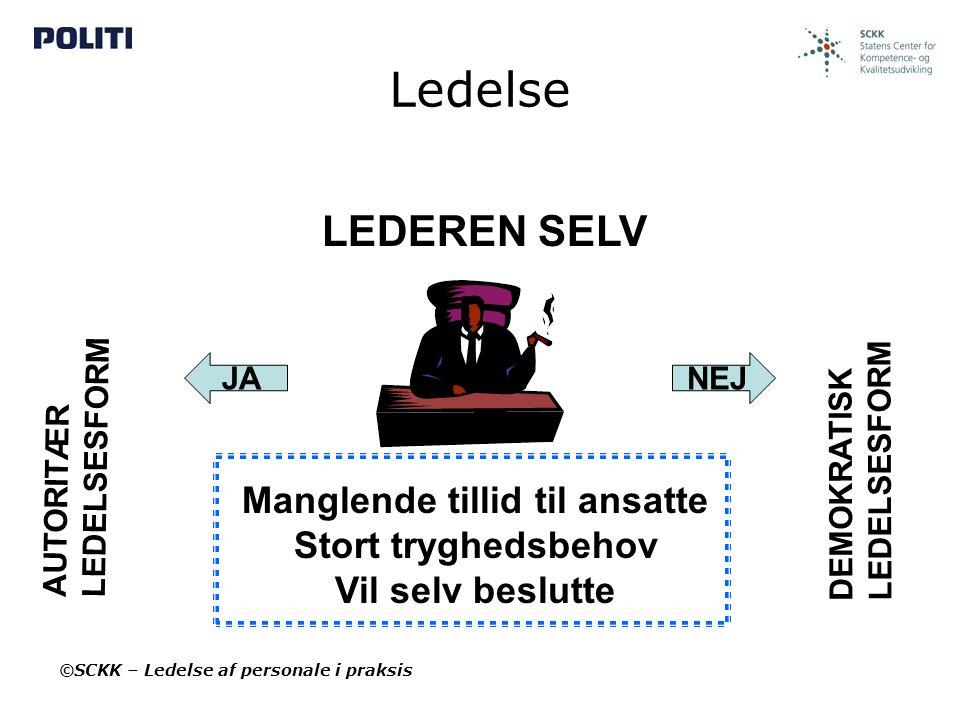 Ledelse LEDEREN SELV Manglende tillid til ansatte Stort tryghedsbehov