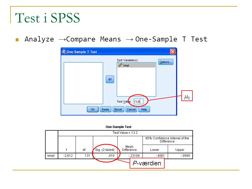 Test i SPSS Analyze →Compare Means → One-Sample T Test m0 P-værdien