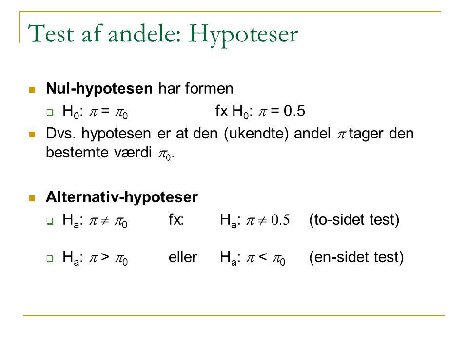 Test af andele: Hypoteser