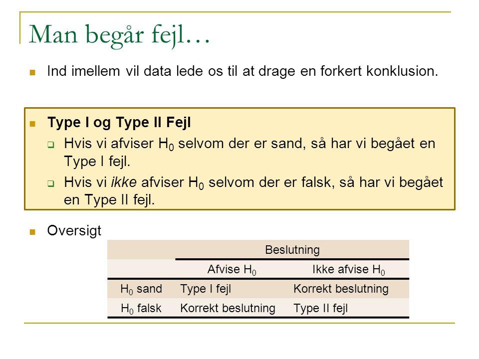 Man begår fejl… Ind imellem vil data lede os til at drage en forkert konklusion. Type I og Type II Fejl.