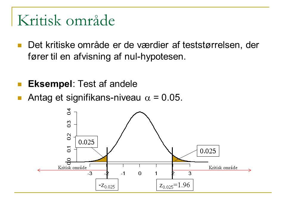 Kritisk område Det kritiske område er de værdier af teststørrelsen, der fører til en afvisning af nul-hypotesen.