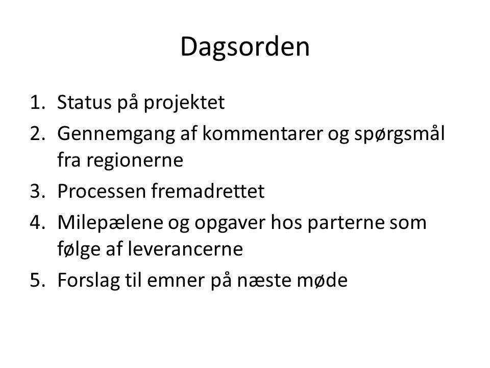 Dagsorden Status på projektet