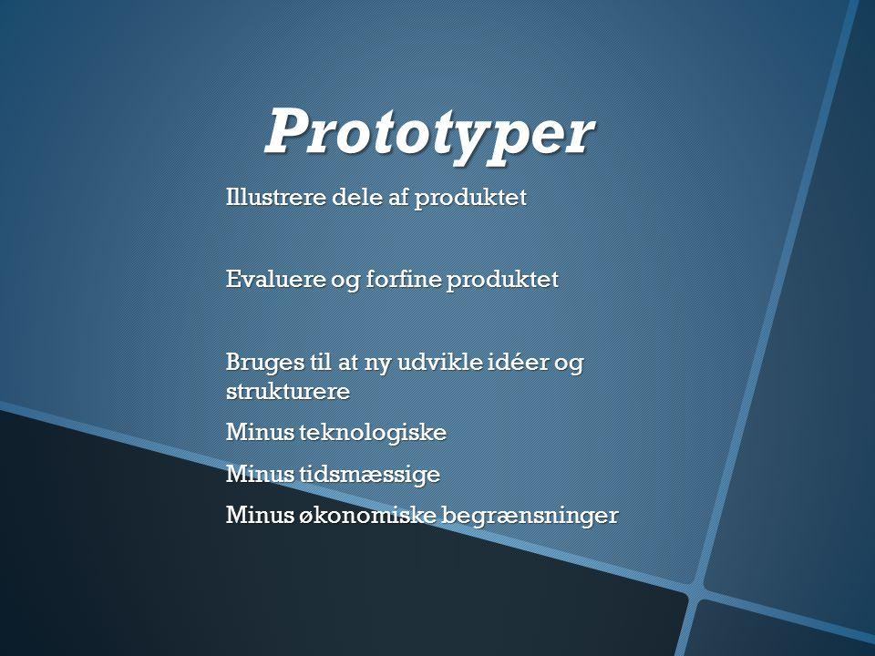 Prototyper Illustrere dele af produktet Evaluere og forfine produktet
