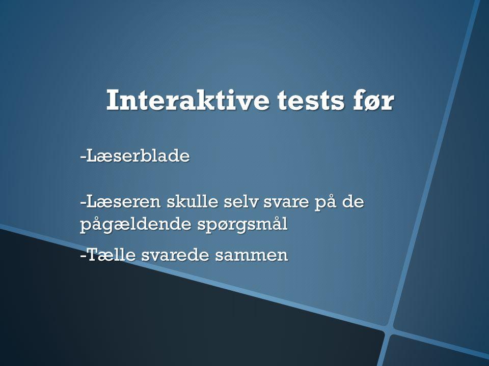 Interaktive tests før -Læserblade -Læseren skulle selv svare på de pågældende spørgsmål.