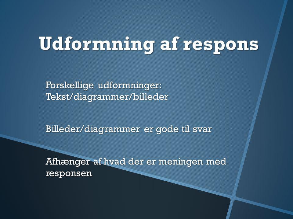 Udformning af respons Forskellige udformninger: Tekst/diagrammer/billeder. Billeder/diagrammer er gode til svar.