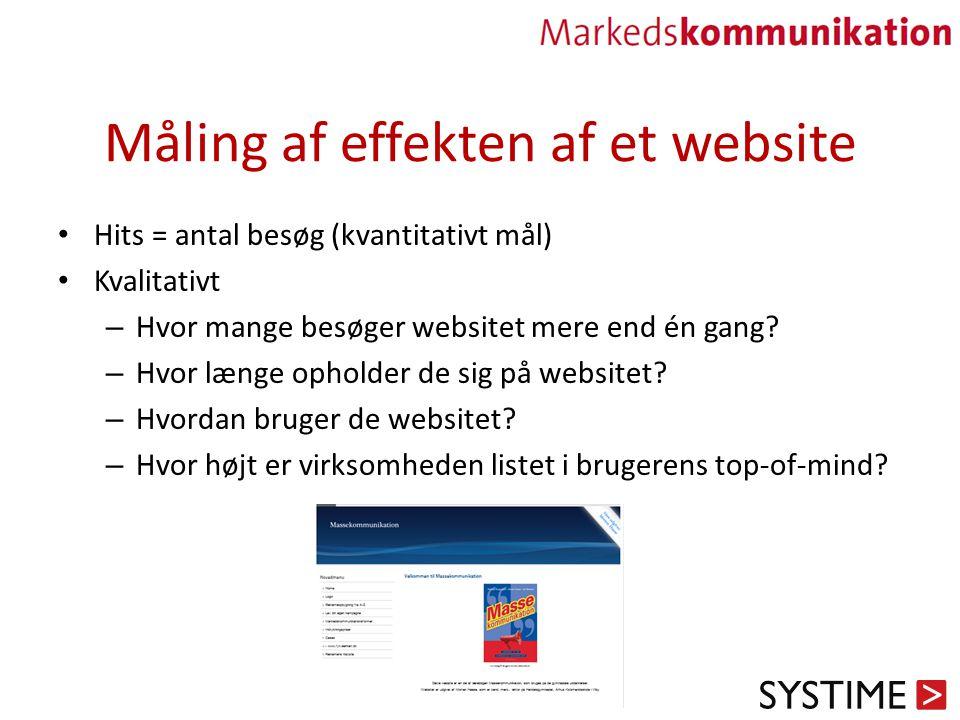 Måling af effekten af et website