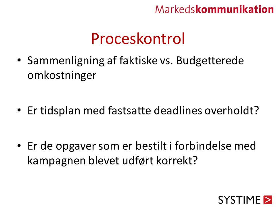 Proceskontrol Sammenligning af faktiske vs. Budgetterede omkostninger