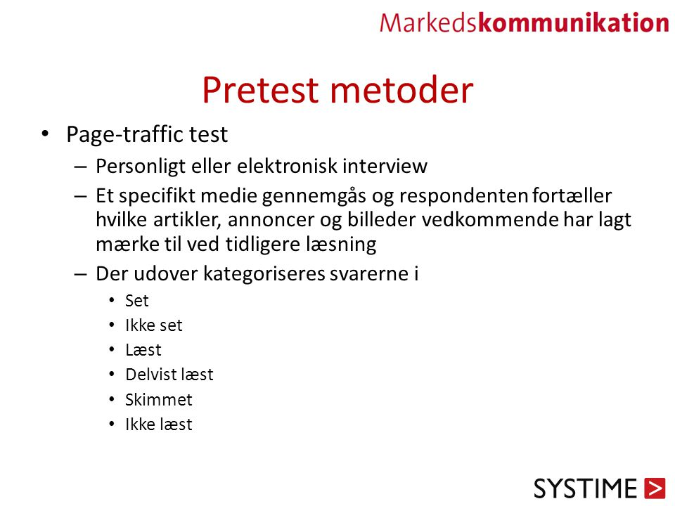 Pretest metoder Page-traffic test