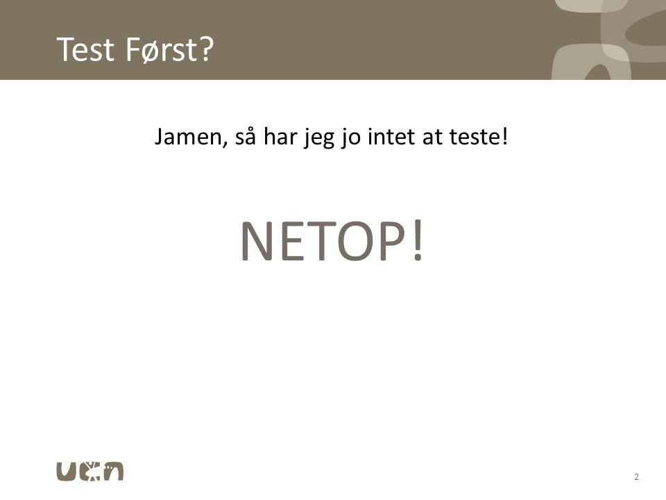 Jamen, så har jeg jo intet at teste!
