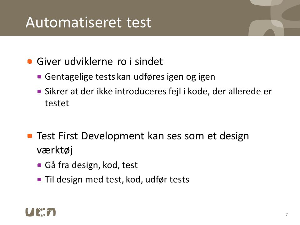 Automatiseret test Giver udviklerne ro i sindet