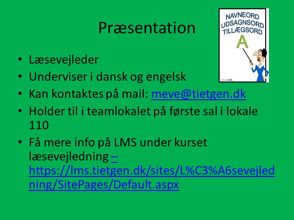 Præsentation Læsevejleder Underviser i dansk og engelsk